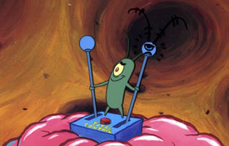 Plankton takes over Sponge Bob's mind