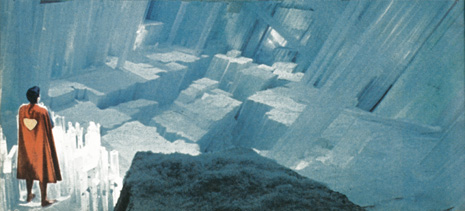Cartoon image of Superman at the Fortress of Solitude